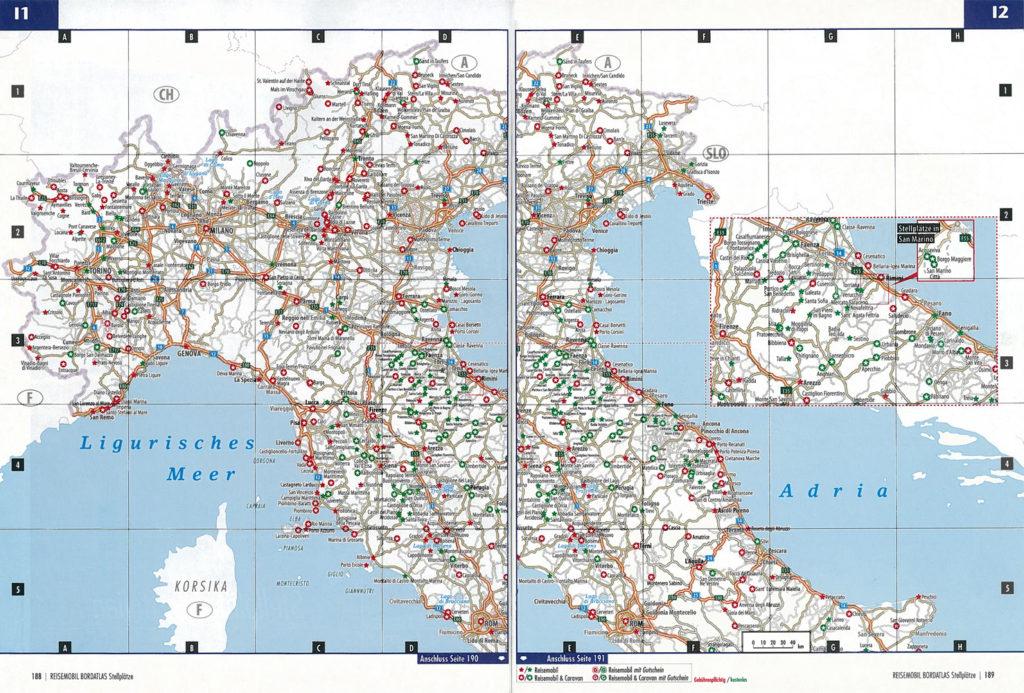 Ukázka mapy Itálie. Místa v kroužku jsou vhodná i pro soupravy s karavanem, zelená místa jsou bez poplatku.