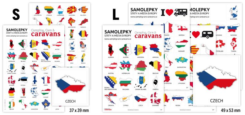 Cestovatelské samolepky, obrysy, 65 zemí