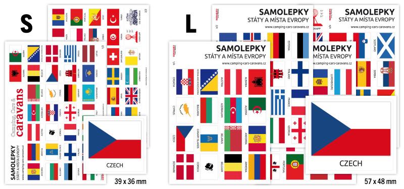 Cestovatelské samolepky, vlajky, 65 zemí